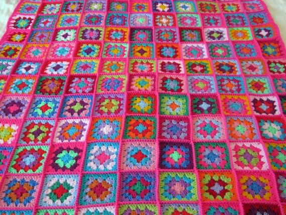 PINK Fusion Granny Squares Afghan Blanket Bright Vivid Crochet
