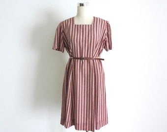 1930s Stripe Dress Short Sleeve