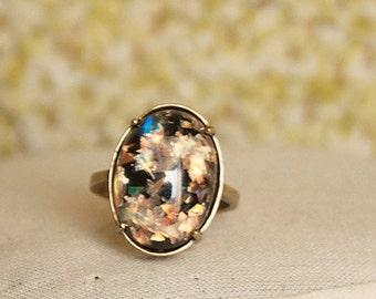 Black Ring Glitter Ring Iridescent Ring Blue Glitter Ring Multi Color Ring Antique Brass Ring Black Glitter Ring Glitter Resin Ring
