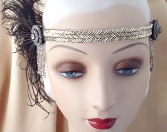1920's headpiece edwardian headband of original 1920's silver beaded trim and cruelty free black ostrich feathers- Audrey