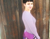 Recycled T-shirt Recycled Clothes Women Clothing Recycled Top Bustle Top Redesigned Purple Top Shirt Handmade Eco Friendly S M Long Sleeve
