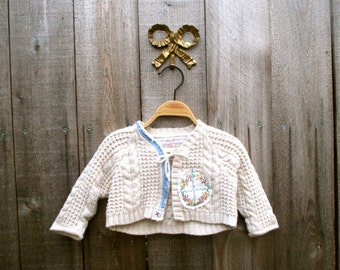 Girls Jacket Knit Top Shirt Sweatshirt Redesigned Recycled Clothing Recycled Clothes 6-9 Month Sweater
