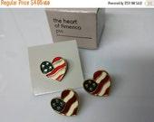CIJ 60% SAVINGS Avon Heart of America Patriotic Bow Pin  and Pierced earrings Mint Condition 1990 original box
