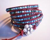 7 Wrap Leather Bracelet Czech Glass Wrap Turquoise Glass Cuff