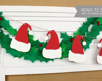 Santa Hat Garland : Handcrafted Christmas Decoration   Elf Party Decoration   Christmas Party Decoration   Holiday Party   Christmas Banner