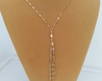 Gold Tassel Necklace, Gold Fringe Necklace, 14k gold filled, tassel pendant necklace