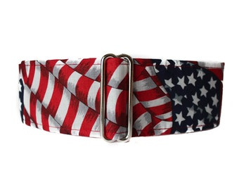 American Flag Martingale Collar, Stars and Stripes Martingale Collar, Red White Blue, 4th of July, Independence Day, Greyhound Collar