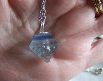 Pale Blue Banded Fluorite Octahedron Gemstone Pendant
