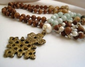 Ethiopian Cross Necklace / Hand Knotted Necklace / African Brass Cross / Amazonite & Wood