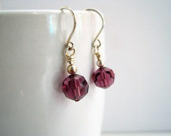 Faceted Glass Drop Earrings / Amethyst Grape Purple Dangle Earrings / Sterling Silver Ear Wires