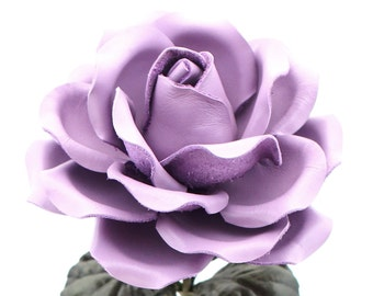 Lilac Leather Rose Large Third Wedding Stem Leather Flower Valentine's Day 3rd Leather Anniversary Mother's Day Anniversary Gift