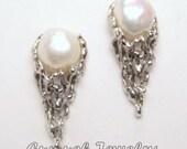 Filigree White Pearl Wedding Earrings, 925 Sterling Silver Stud, Bridal Jewelry