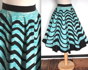 Vintage 1950s Circle Skirt // 50s Madalyn Miller Blue and Black Abstract Avant Garde Swing Skirt // Rockabilly Pin Up