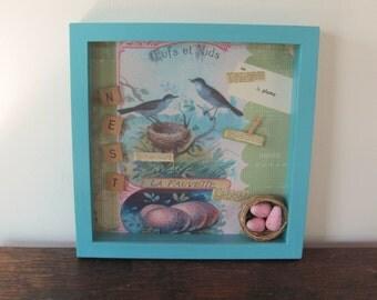 Bird Shadow Box, French Bird and Nest Themed Shadow Box, Aqua, Pink Green