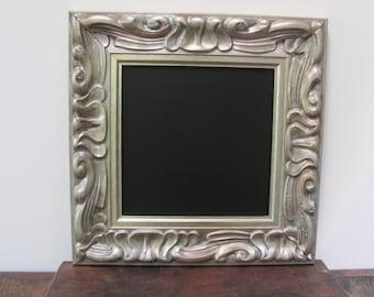 Ornate Framed Chalkboard, Antiqued Silver Chalkboard, Wedding Chalkboard