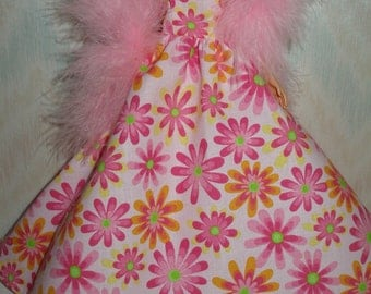 "Handmade 11.5"" fashion doll clothes - pink floral print gown with pink boa"