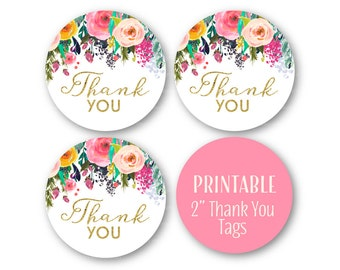 Thank You Tags, Thank You Favor Circles, Wedding Shower Thank you, Glitter and Floral Thank You Tags, Printable Stickers - 3062 3064