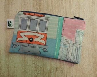 Padded Zip Pouch purse Gadget Coin Case - San Francisco Cable car print