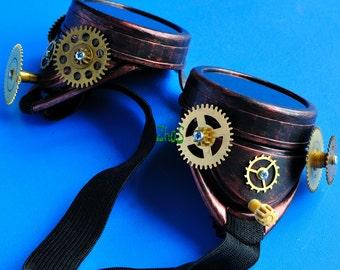 Copper Steampunk Goggles Post Apocalypse Victorian Glasses Road Warrior Victorian Glasses diesel punk
