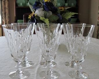 6 Vintage Duncan Miller Fine Crystal Iced Tea Goblets Willow Pattern Circa 1953
