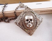 Gothic ornate filigree skull head multi layer necklace, aged silver brass, Victorian, goth,vintage S009