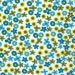 Pinwale Corduroy Blue Green Yellow Floral Fabric Finders Cotton 60 inch fabric by the yard