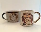 Vintage Soup Mug Bowl and Mug - Owl Stoneware - Otagiri Style