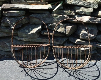 Vintage Wrought Iron Planters - wall hung planters - set of 2