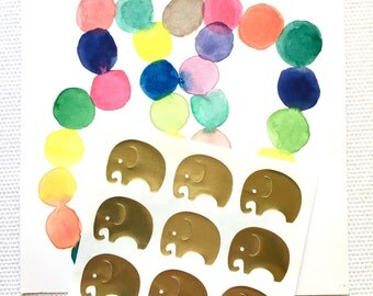 Elephant Stickers / Labels in Gold Foil or Gloss White