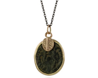 Ancient Roman Coin Necklace - Recycled 14k Gold, Authentic Bronze Roman Coin, Oxidized Sterling Silver, Mixed Metals, OOAK, Ready to Ship
