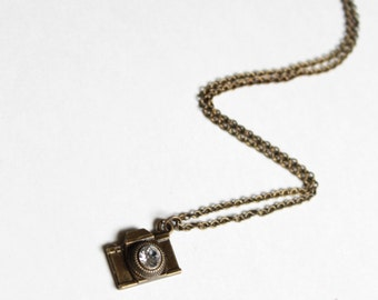 Captured on Camera Charm Necklace Antiqued Bronze with Rhinestone Center Ladies Jewelry Ladies Necklace Camera Necklace Photography Jewelry