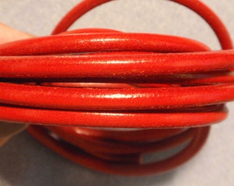 Premier Italian Red Leather, 5mm, 16 inches