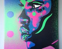 African Woman face painting,kiss 2 series,stencil art,spray paint art,canvas,beauty,street art,handmade,urban,graffiti,home,pop art,modern