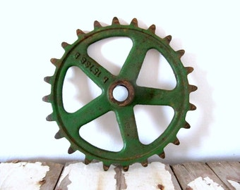 Vintage Green Industrial Iron Gear Wheel