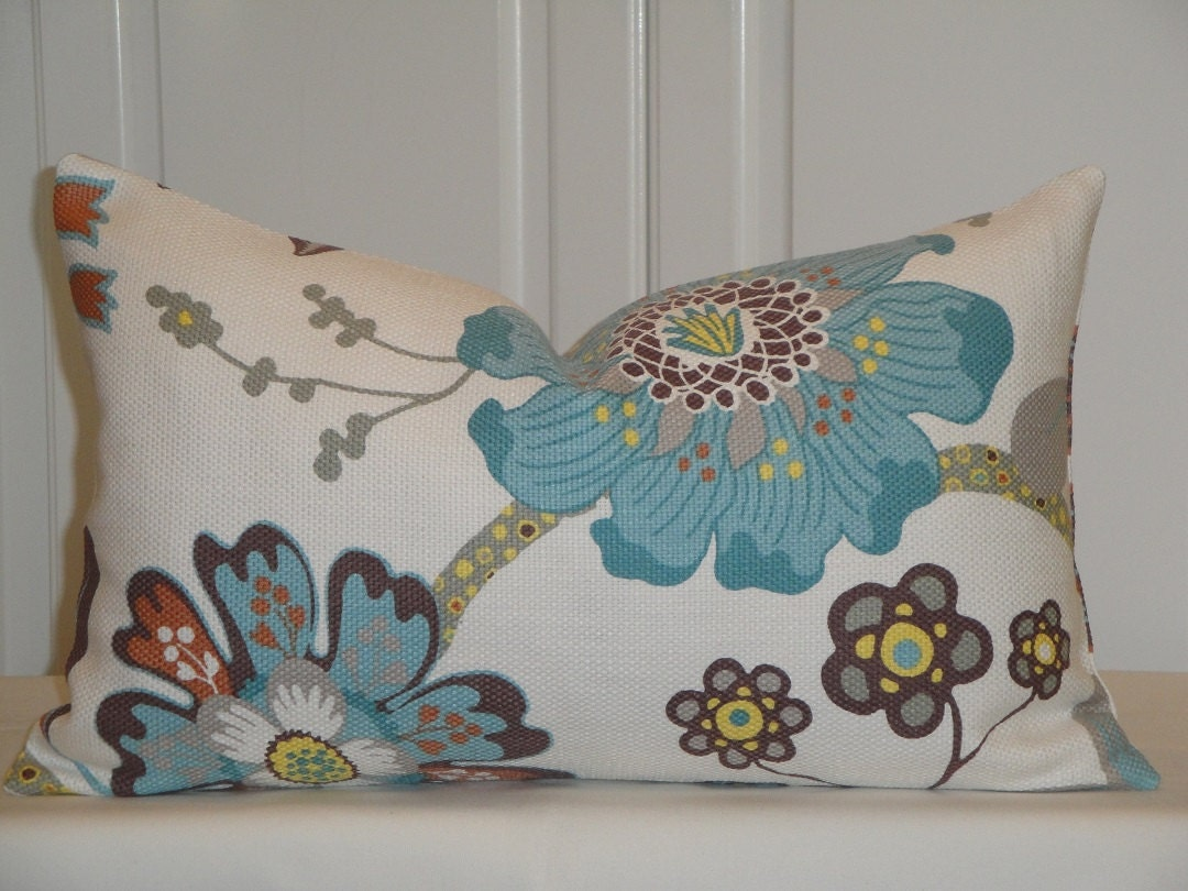Decorative Pillows In Turquoise : BOTH SIDES Turquoise Floral Decorative Pillow Cover Aqua