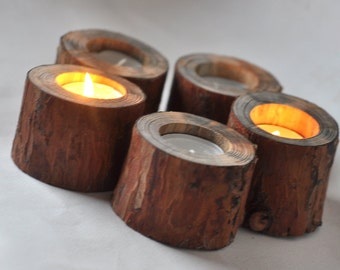 Natural Pine Candle Holder • set of Pine wooden  Candle Holders