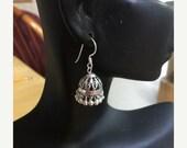 Jaipur Jhumkas-J502 - Oxidized Silver Filigree  Petite Jhumkas with silver beads