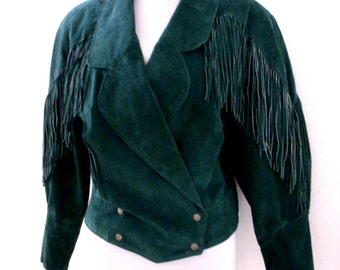 Vintage 80s Green Suede Fringed Cowboy Jacket - 1980s Cropped Southwestern Cowgirl Fringe Jacket - Frontier Collection - Size Medium