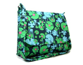 Floral Messenger Bag Women, Amy Butler Crossbody Purse, Fabric Cross Body Bag, Cotton Pocketbook, Floral Handbag, Blue Green Bag, Fabric Bag