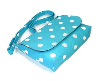 Mini Cross Body Purse, Aqua Blue Polka Dot Bag, Small Messenger Bag for Women, Fabric Handbag, Small Shoulder Bag, Pocketbook, Crossbody Bag