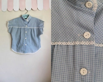vintage girl's blouse - DAISY GARDEN blue grid pattern boho blouse / 8x