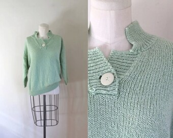 50% OFF...last call // vintage mint sweater - MISTY MINT pullover / s-m-l