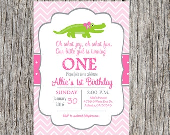 Alligator birthday party invitation, girl alligator invitation, gator birthday party, custom and printable