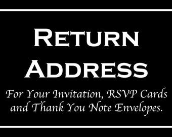 Envelope Addressing Service - Printed Return Address for Invitation Envelopes - Rsvp Card and Thank You Note - MUST ORDER MINIMUM of 50