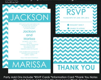 B'Nai Mitzvah Invitation - Aqua and White Chevron Pattern - Reply Card - Information Card - Thank You Note CUSTOM for ANY EVENT