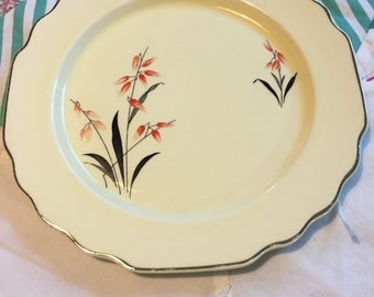 Vintage Red Floral Salad Plate Lido Canarytone W S George Made in The USA #3772