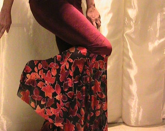 ATS, Tribal, Festival and Flamenco Flare Pants & skirt Set  in Red Velvet with Fall Maple leaves