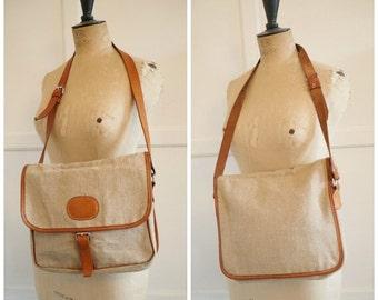 SALE Vintage leather & canvas shoulder bag