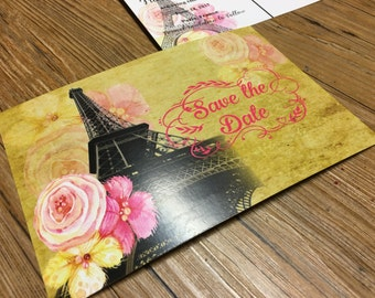 Vintage Post Card Save The Date -- Paris Post Card  -- Save The Date
