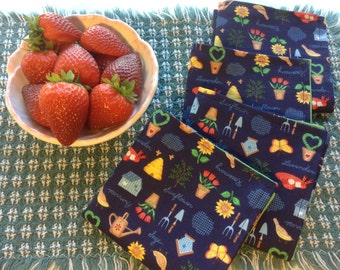 Cloth Napkins - Gardening Theme- Set of 4, Lunch Napkins, Reusable Napkins, Earth Day